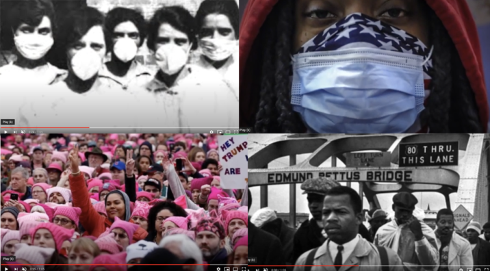 block of four film stills from history 109 video
